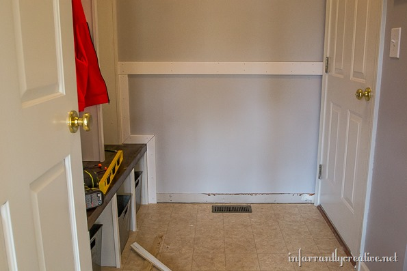 board and batten mudroom wall