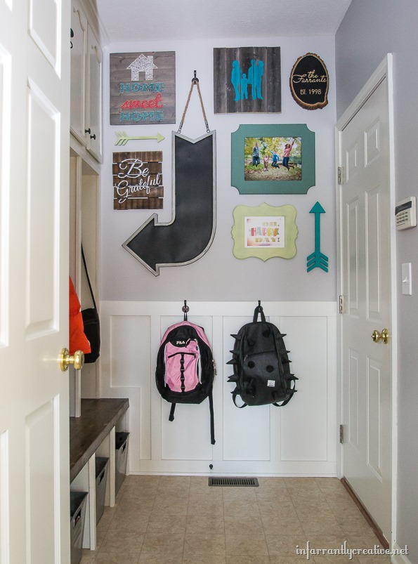 custom mudroom gallery wall