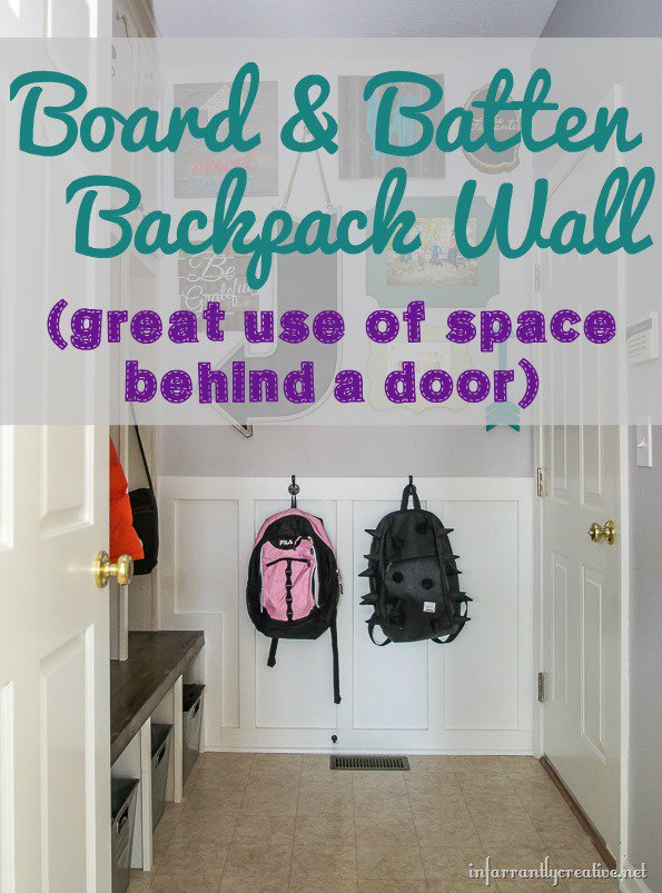 mudroom backpack wall board and batten