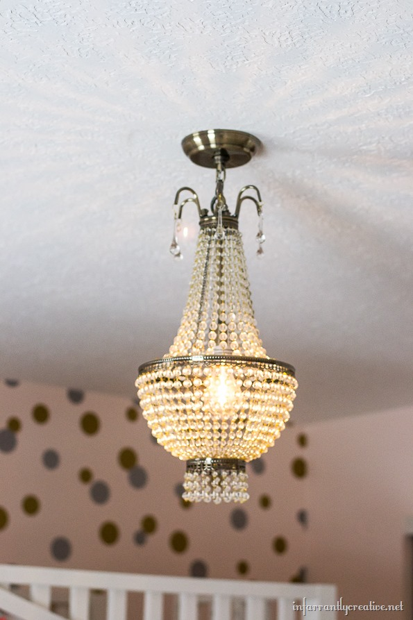 beaded chandelier lit