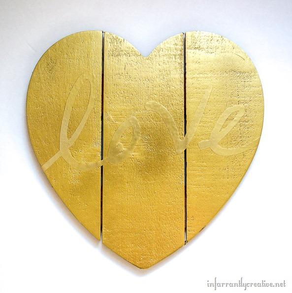 gold wood heart