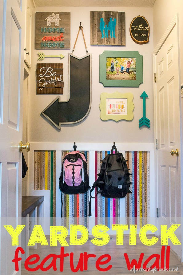 Adding a Little Quirk to Your Home {Yardstick Backpack Wall}