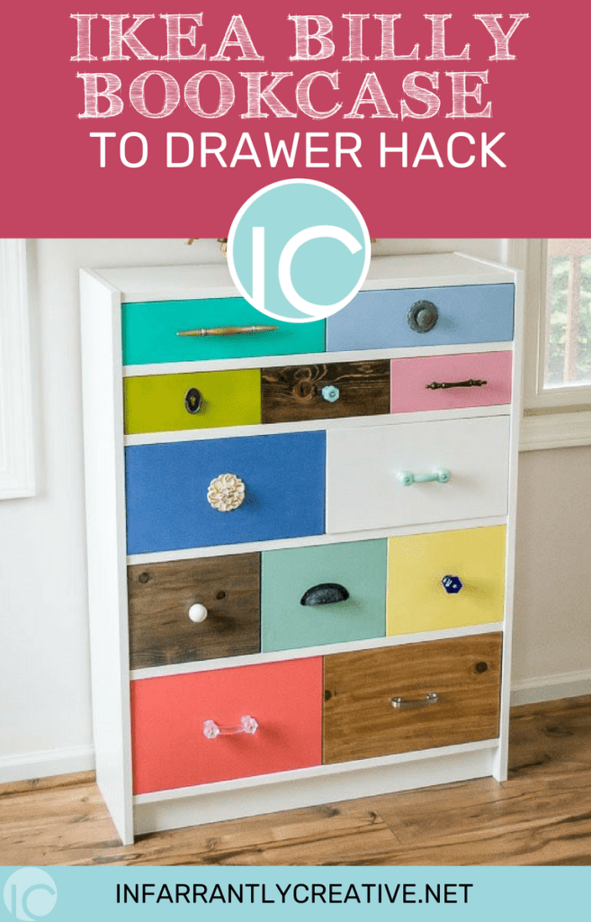 Colorful Ikea Billy Bookcase with Drawers