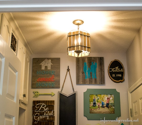 cage chandelier wood