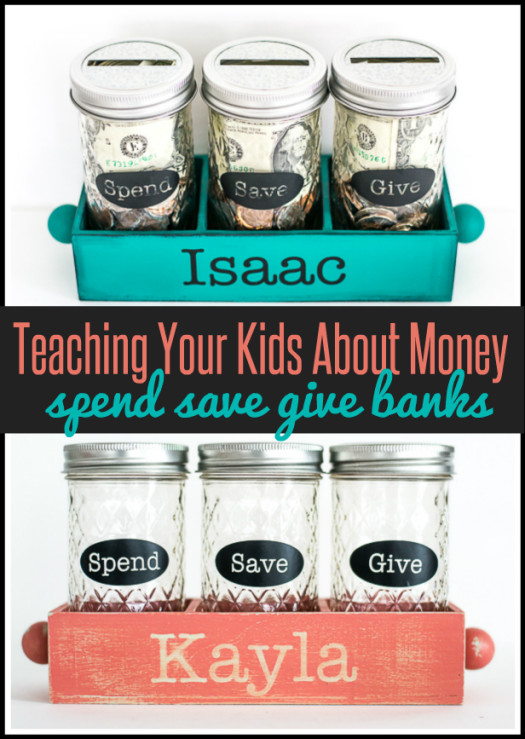 teaching kids about money with spend save give banks