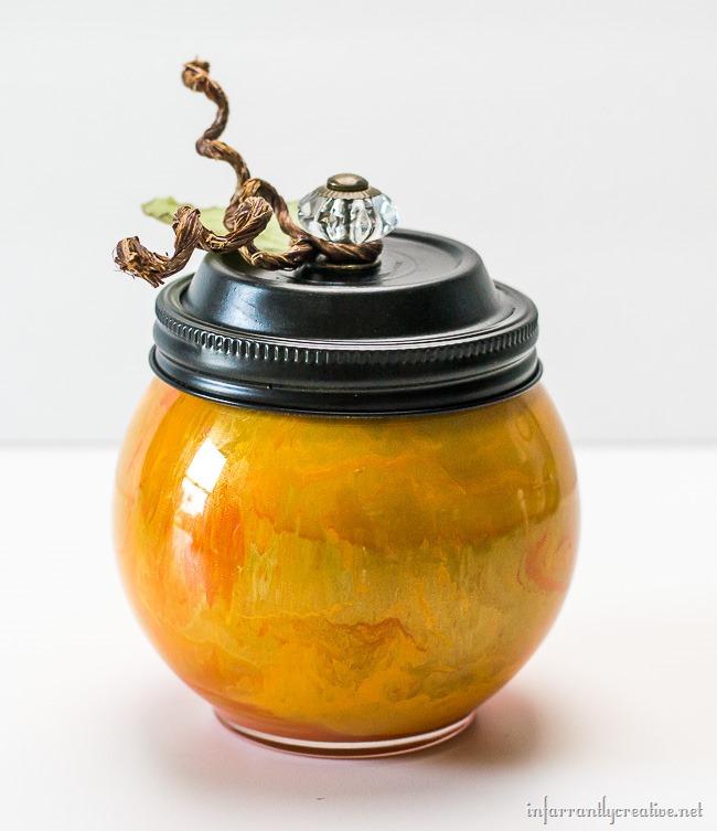 orange paint swirled pumpkins