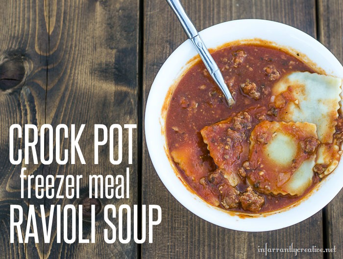 FOOD  Crockpot freezer meal ravioli soup that everyone in your family will love
