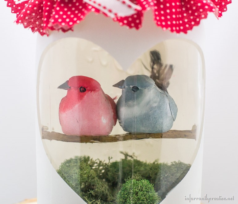 heart mason jar with birds