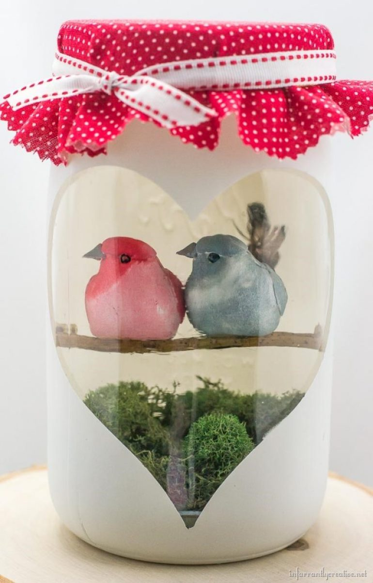 mason jar love birds