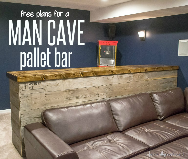 Man Cave Wood Pallet Bar {Free DIY Plans} - Infarrantly ...