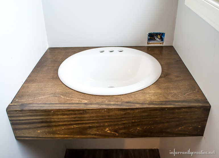 Floating Vanity. 10. I Used Wood Filler To Touch Up The Holes.