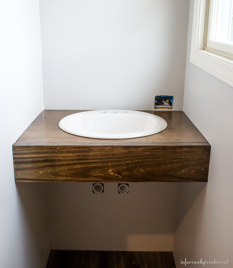 floating wood vanity