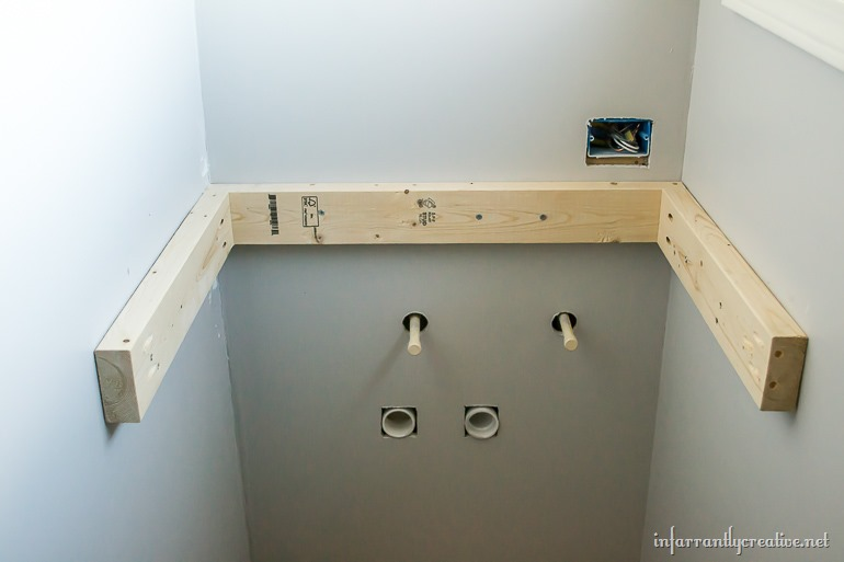 support for floating wood vanity