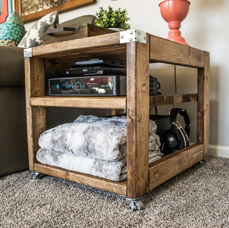 farmhouse industrial end table