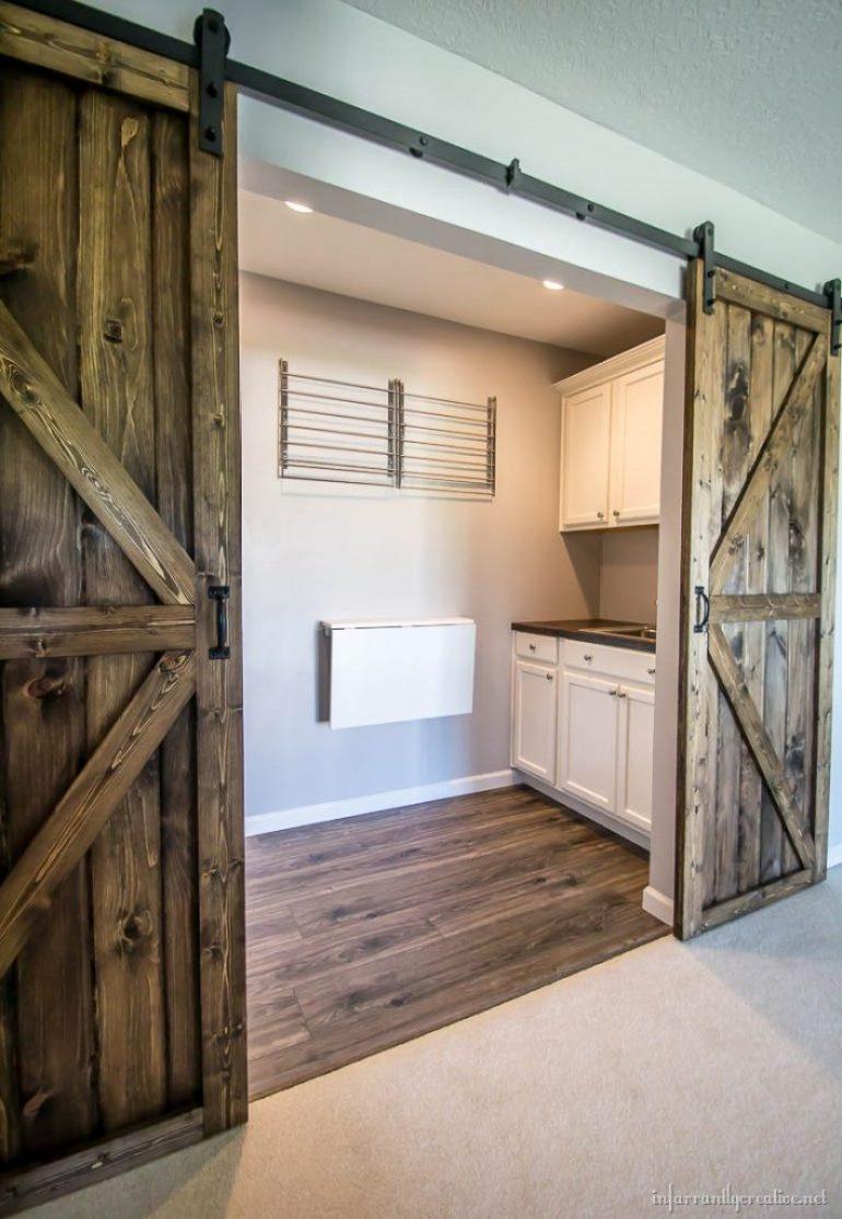 Diy sliding double barn doors reclaimed wood for Barn door in house
