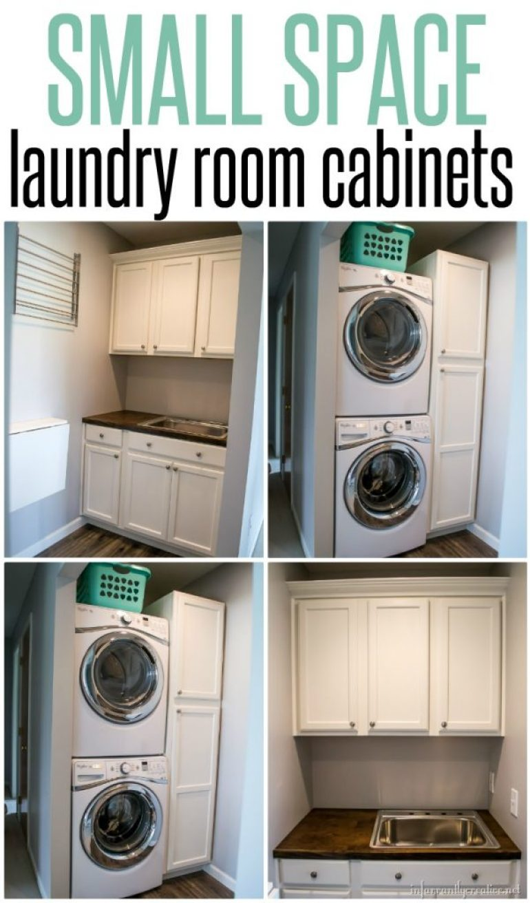 Laundry Room Cabinets {Small Space Laundry Room Area ... on Small Laundry Room Cabinets  id=93128