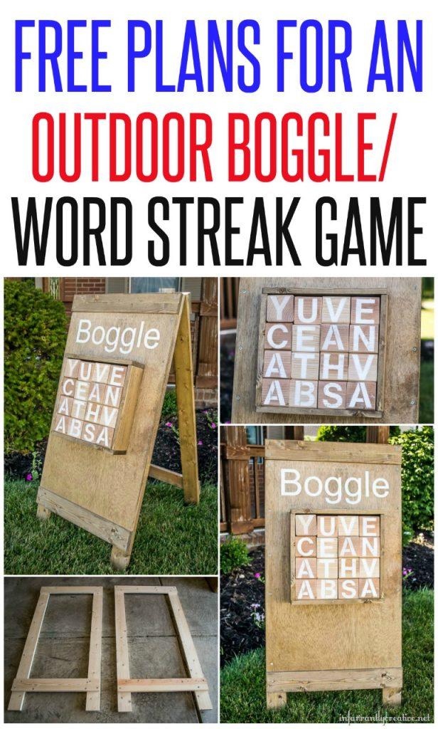 DIY Outdoor Boggle / Word Streak Game