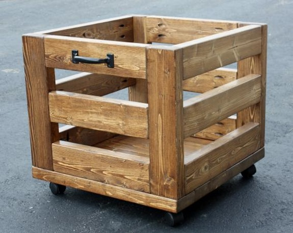 Make this industrial storage bin entirely from 2x4s!