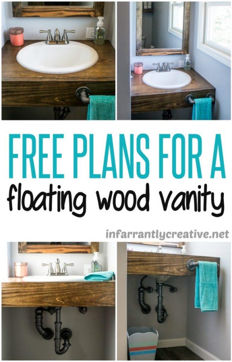 DIY Floating Wood Bathroom Vanity