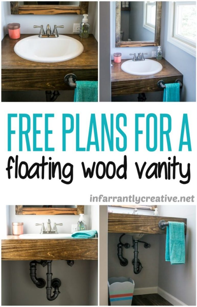 DIY Floating Wood Bathroom Vanity