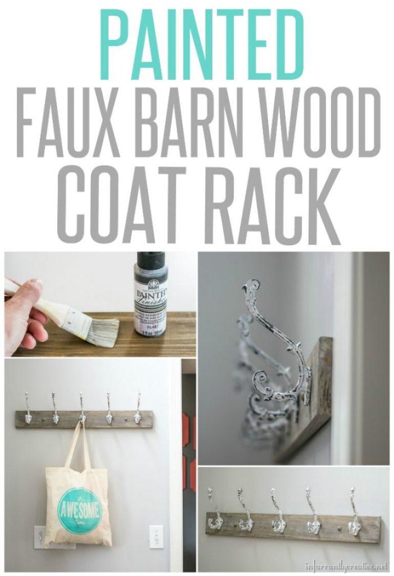Faux Painted Barn Wood Coat Rack