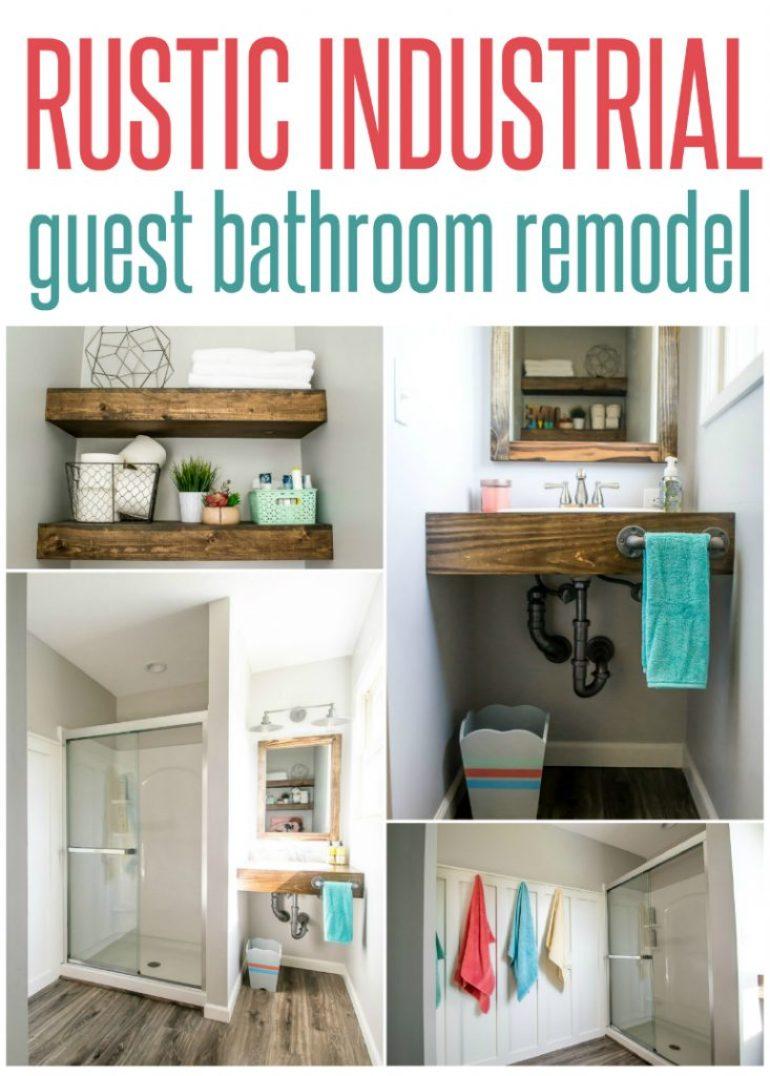 rustic industrial guest bathroom remodel