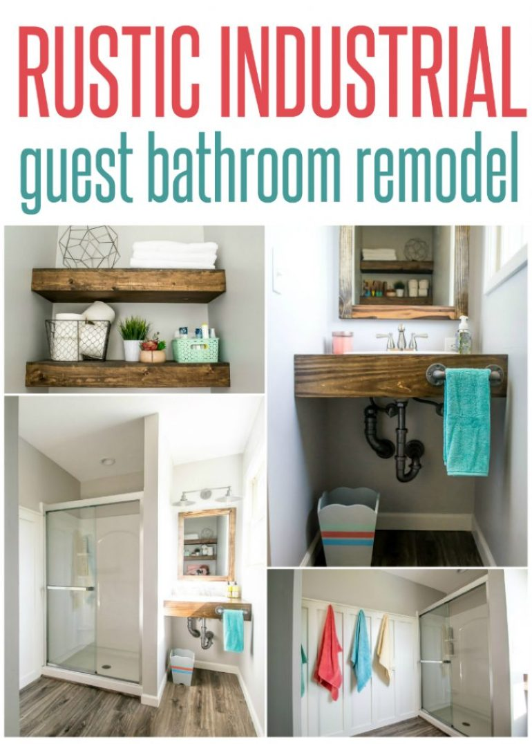 rustic industrial guest bathroom remodel