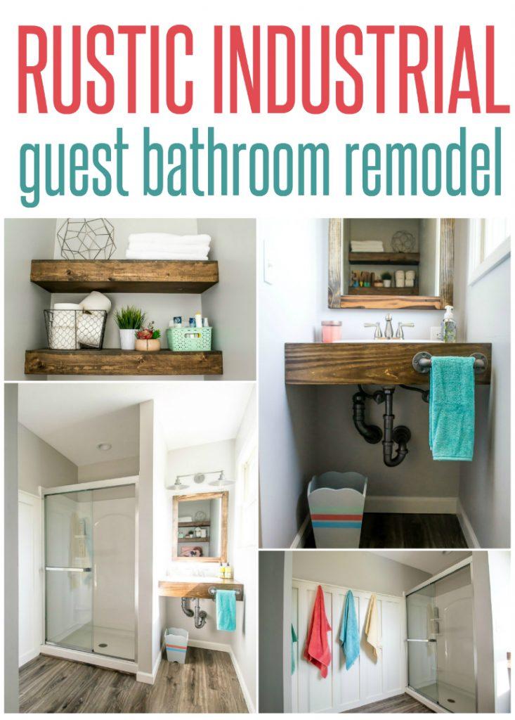 Amazing rustic industrial guest bathroom remodel