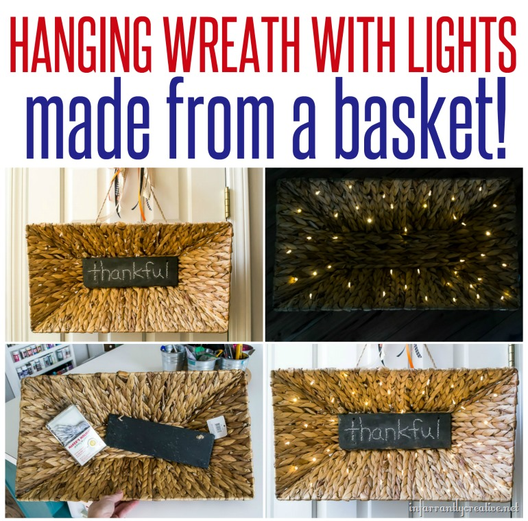 hanging wreath with lights made from a basket