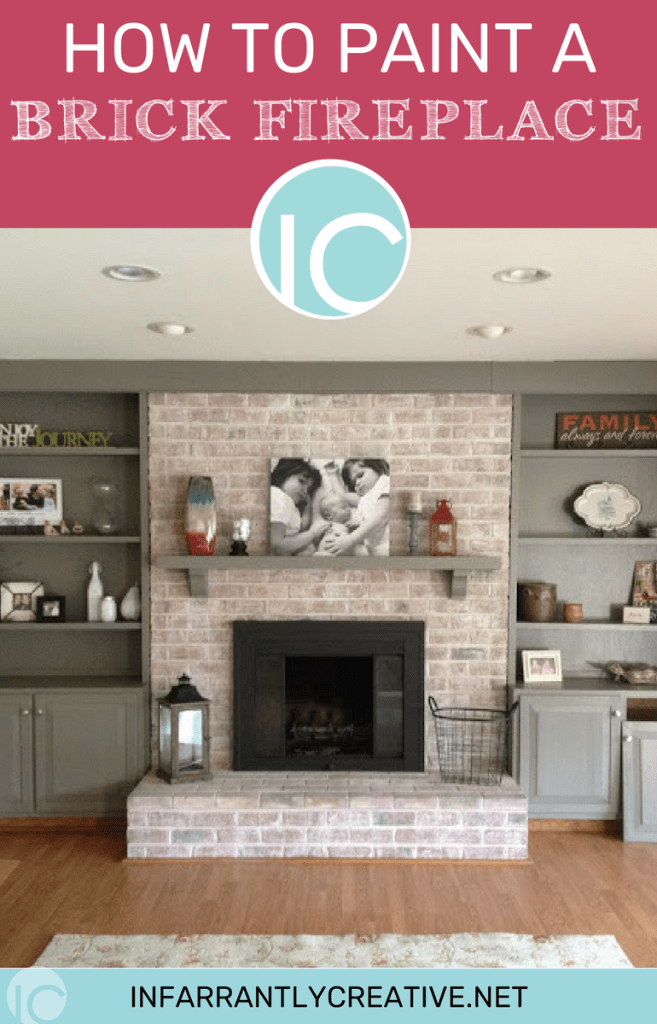 Whitewash painted brick fireplace with built-in bookshelves on both sides updates the fireplace.