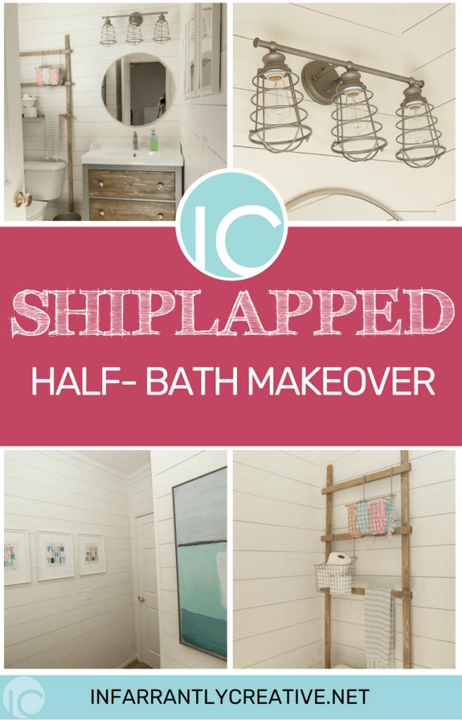 Shiplapped Half Bath Makeover
