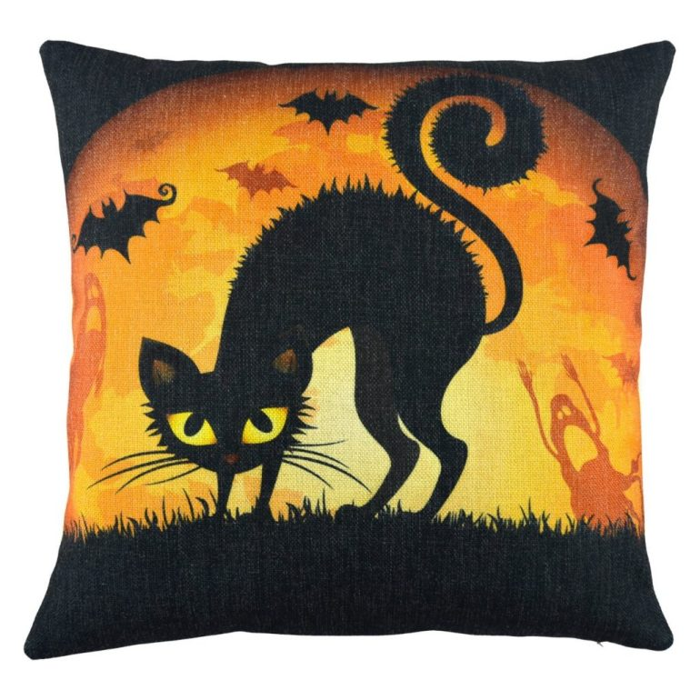 black cat under the moonlight amazon Halloween pillow cases