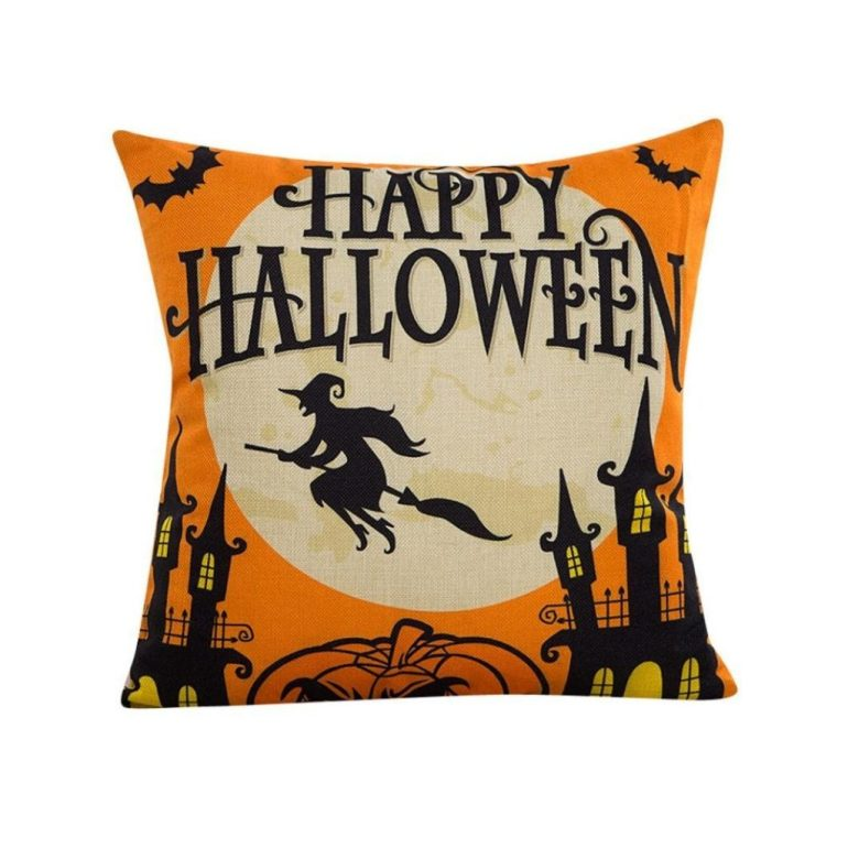 happy halloween witch on a broomstick amazon pillow cover