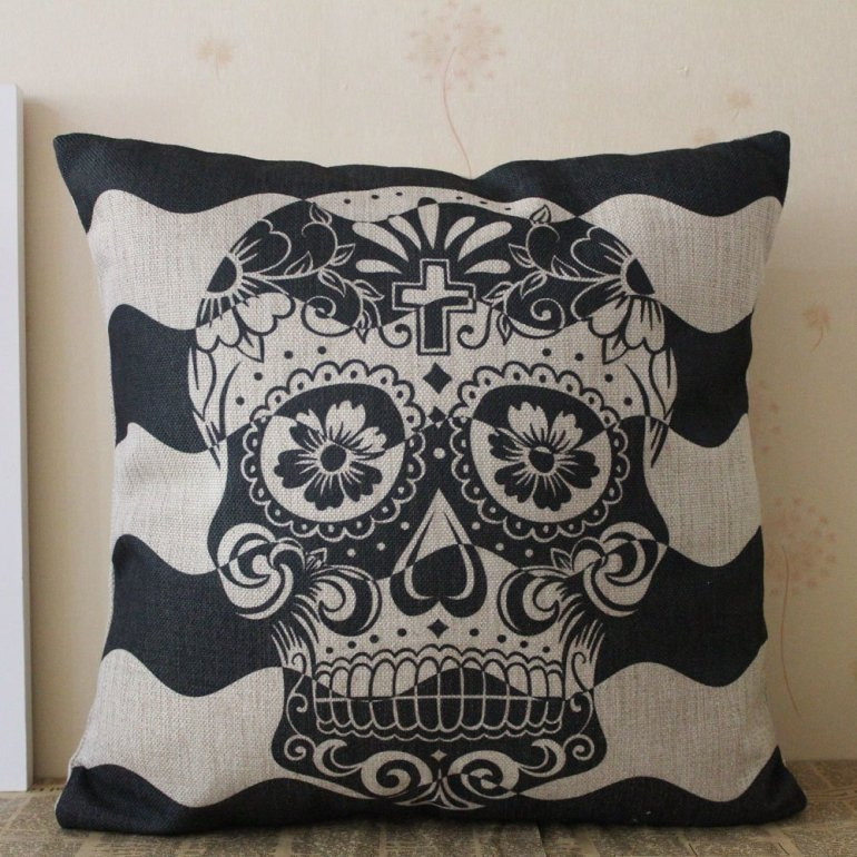 black skull amazon halloween pillow cover