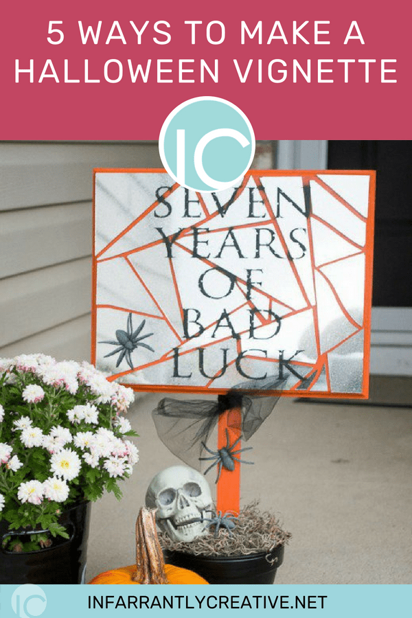 7 years of bad luck cracked mirror sign halloween vignette