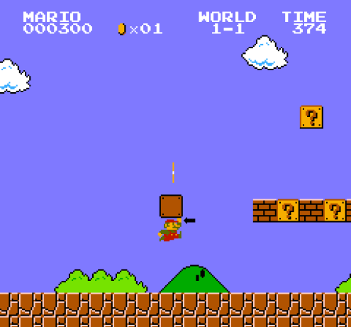 mario doesn't hit blocks with his head, but with his fist
