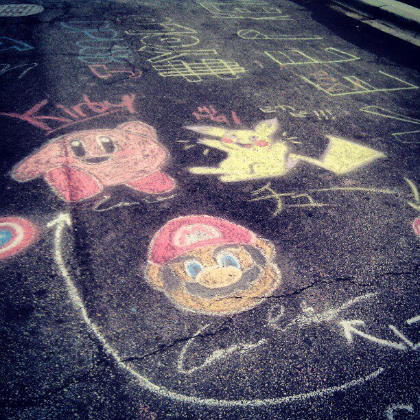 Mario-Kirby-Pikachu street art