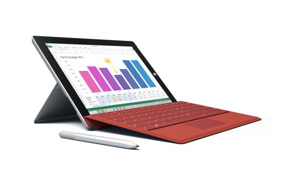 Surface 3 with Dark Red Type Cover