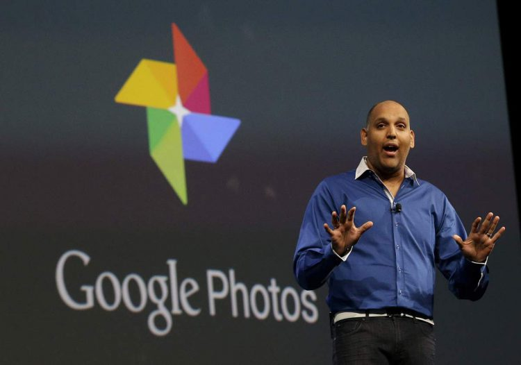 Anil Sabharwal, director of Google Photos, speaks during the Google I/O 2015 keynote presentation in San Francisco, Thursday, May 28, 2015. (AP Photo/Jeff Chiu)