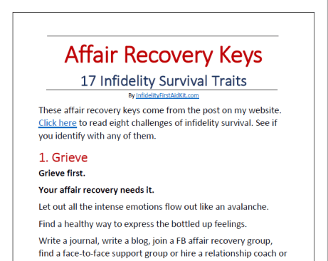 Affair Recovery Keys Infidelity Survival Traits