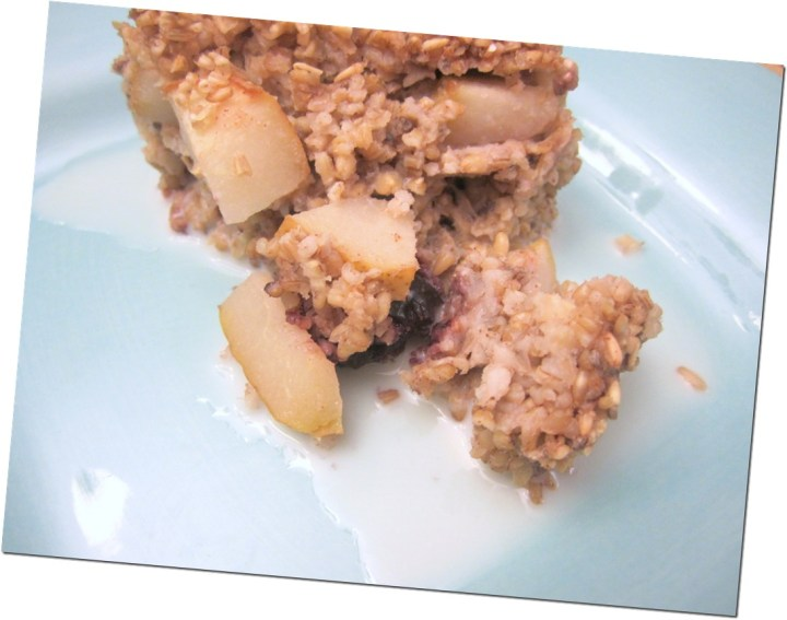 baked oatmeal with pears and cherries
