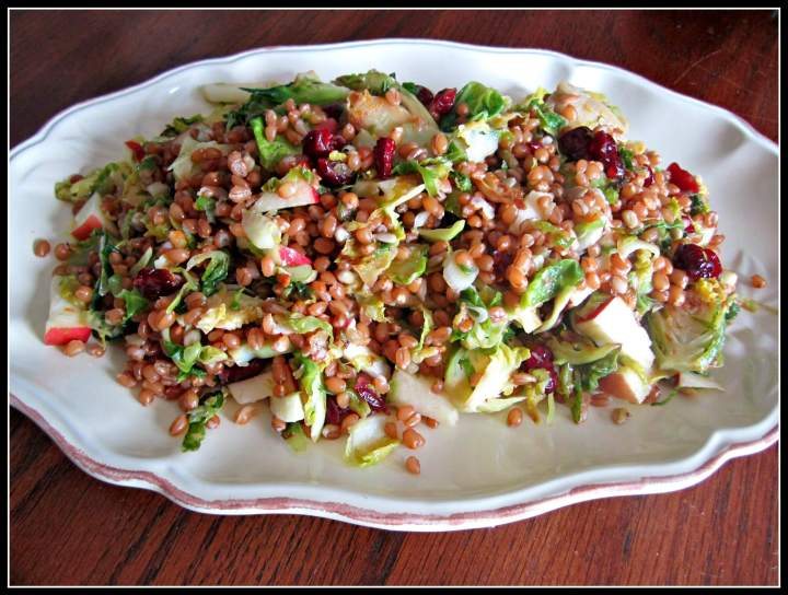 Wilted Sprout Salad with Wheat Berries and Apples   www.infinebalance.com #salad #vegan #winter