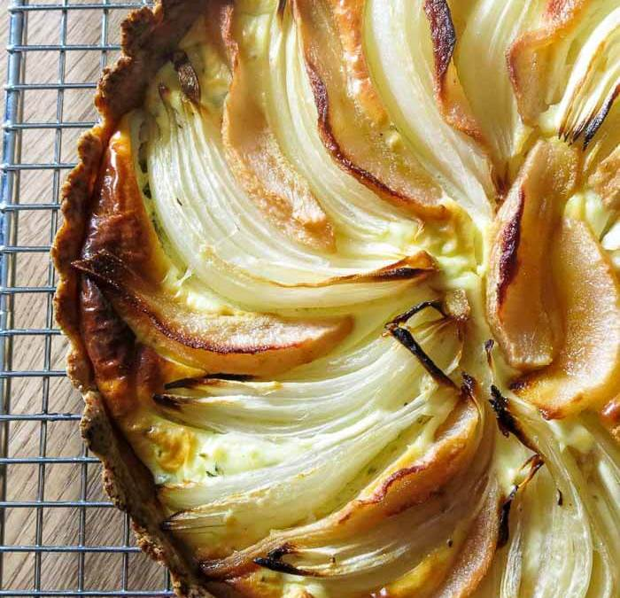 Roasted Onion and Pear Tart with Goat Cheese