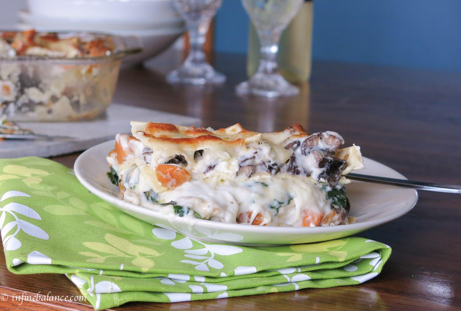 Vegetarian Lasagna with Sweet Potatoes and Portabella Mushrooms