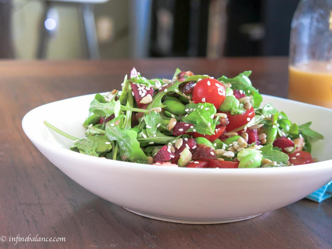 arugula and edamame salad with ruby red vinaigrette | www.infinebalance.com