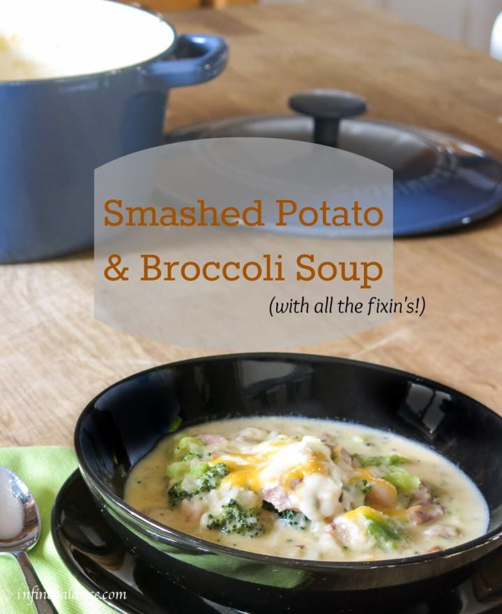 smashed potato and broccoli soup