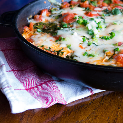 Skillet Eggs with Spinach and Tomatoes