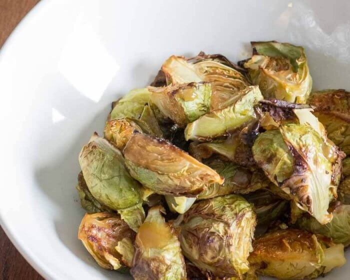Miso Glazed Brussels Sprouts | The Infinebalance Food Blog - vegan recipe. Holiday side dish.