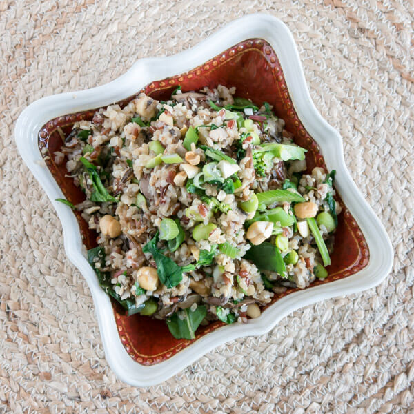 Mushroom Fried Quinoa and Brown Rice with Greens