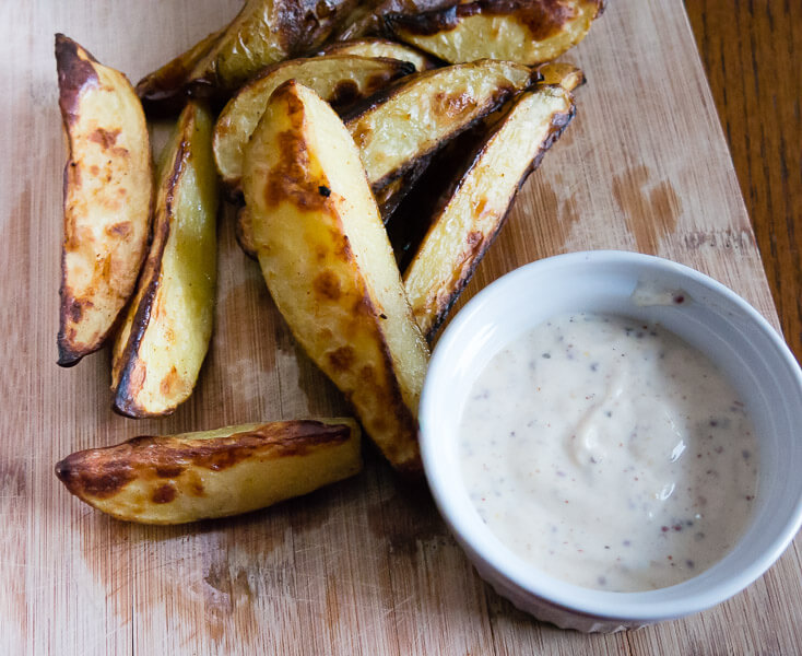 Oven Roasted Potato Fries with Dijon Dipping Sauce